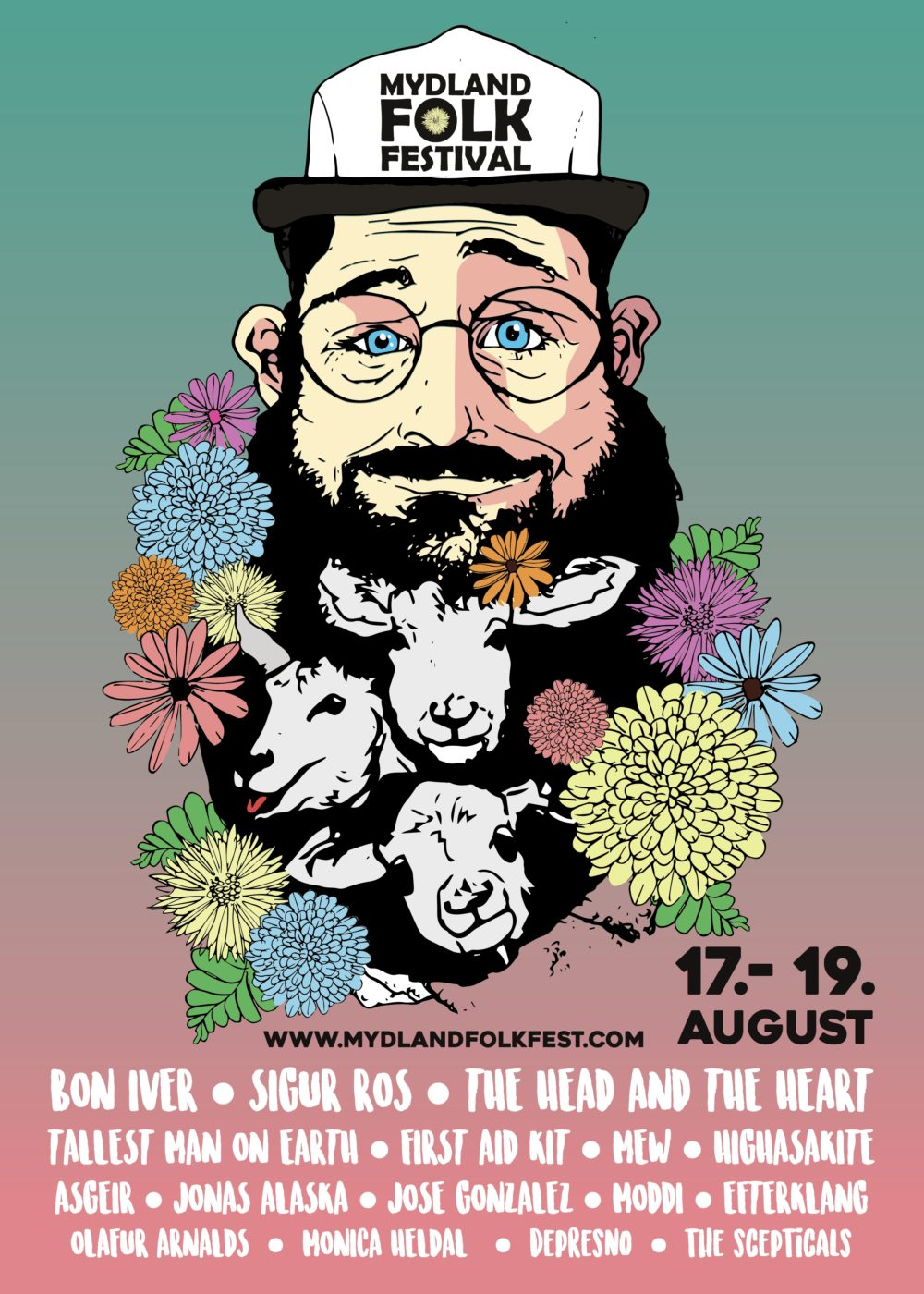 Frank Christian Brambo med Plakat og identitet for Mydland Folk Festival (skoleoppgave)